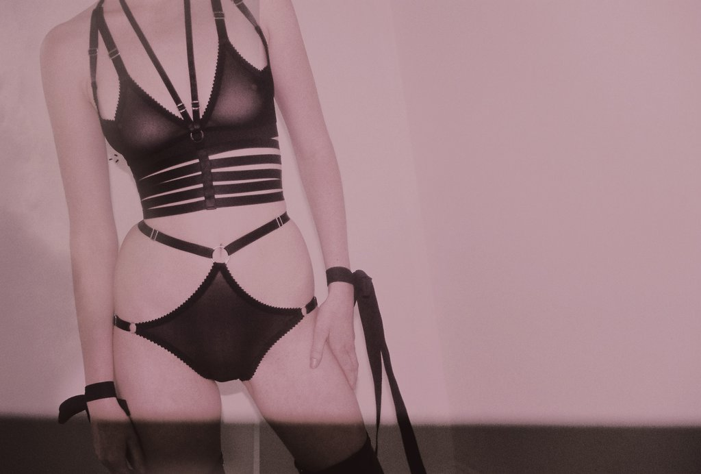 A model wears lingerie by Hopeless, featuring the Darla strappy knickers. Straps at the waist and hips are all adjustable, and the panties are made of a soft sheer black mesh.