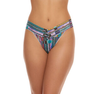 a model is shown from the waist down wearing the Hanky Panky bars and stripes original rise thong. It has multicolored stripes printed on a stretch lace.