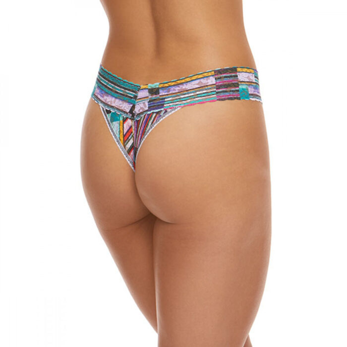 a model is shown from the waist down (back view) wearing the Hanky Panky bars and stripes original rise thong. It has multicolored stripes printed on a stretch lace.