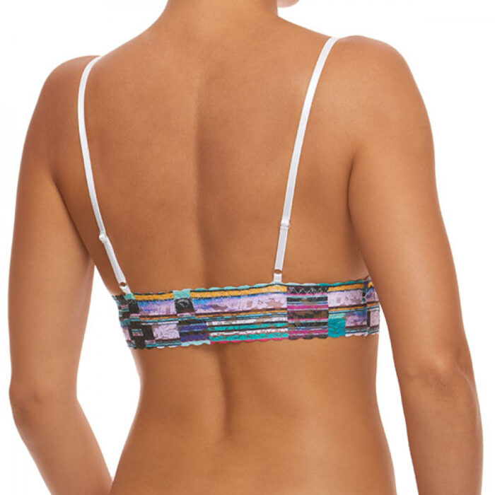 A model is shown from the waist up (back view) wearing the Hanky Panky bars and stripes Triangle bralette. It has multicolored stripes printed on a stretch lace.