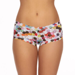A model shown from the waist down faces forward showing the front of the hanky panky honeycomb boyshort panties. The print is a multicolored honeycomb pattern on a stretch lace.