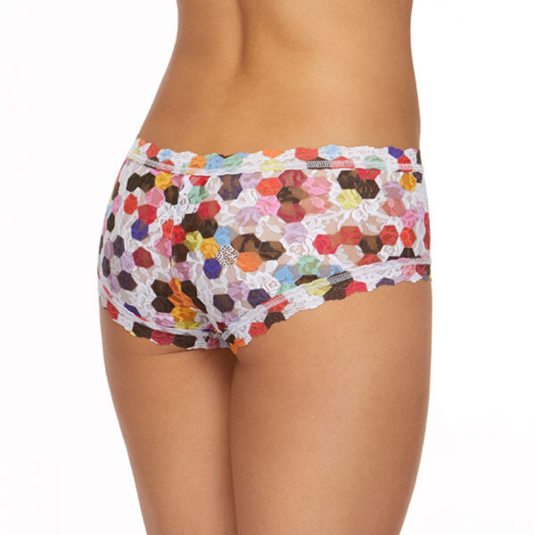 A model faces backwards showing the back of the hanky panky honeycomb boyshort panties. The print is a multicolored honeycomb pattern on a stretch lace.