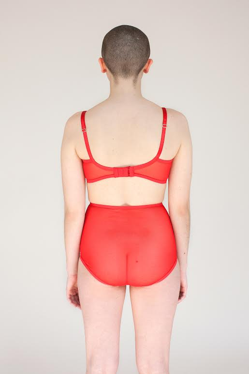 A model faces backwards showing the back of the Iona bra and panty set. Iona is made of soft sheer red mesh and lace. The back of the bralette and high waisted panties is all sheer.